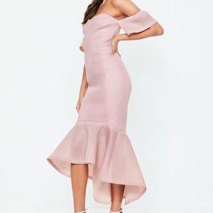 Missguided Pink Bardot Midi Dress